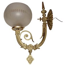 Large Gas Sconce with Original Finish and Period Shade