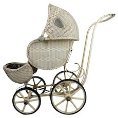 Wicker Doll Carriage, Circa 1930
