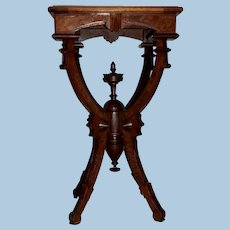 Victorian Walnut Candle or Plant Stand with Marble Top, Circa 1870