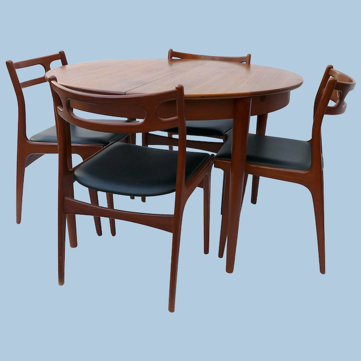 Danish Modern Teak Dining Table And 4 Chairs By Johannes Andersen For Circa 1850 Antique Lighting Furnishings Ruby Lane