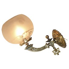 English Gas Sconce with Eastlake and Gothic Detailing
