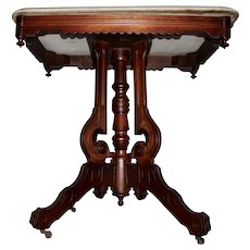 Eastlake Walnut Parlor Table with Marble Top