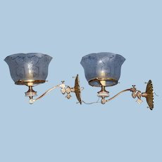 Pair of Aesthetic Gas Sconces with Satsuma Porcelain Inserts and Period Shades