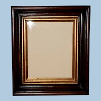 Victorian Walnut Frame with Ebonized Bands and Gilt Liner, Frame #4