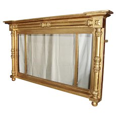 Sheraton Late Federal Over Mantle Mirror, Circa 1840