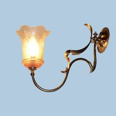 Art Nouveau Gas Sconce with Period Shade
