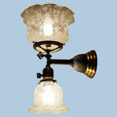 Gas & Electric Wall Sconce with Matching Shades