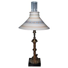 Gas Portable Table Lamp with Boston & Sandwich Shade