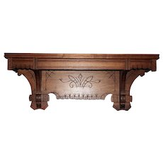 Eastlake Walnut Clock or Lamp Shelf