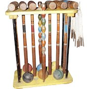Antique Croquet Set with Stand