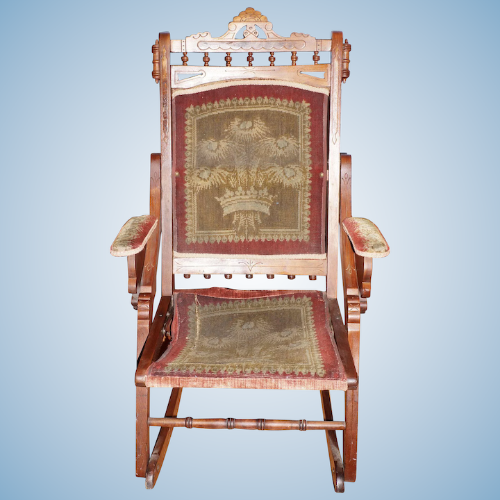 Marvelous Folding Walnut Eastlake Rocking Chair With Original Fabric Short Links Chair Design For Home Short Linksinfo