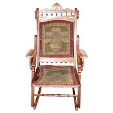 Folding Walnut Eastlake Rocking Chair with Original Fabric