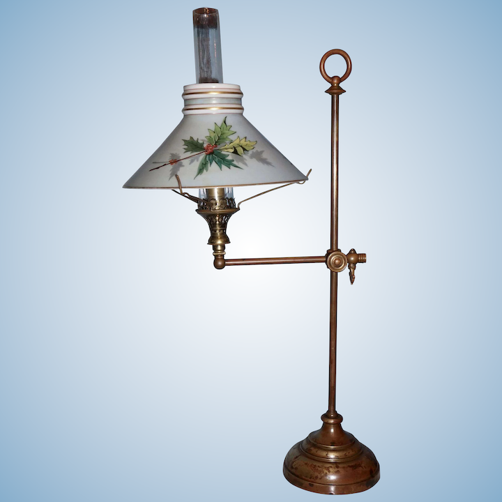 Extremely Rare Gas Student Lamp With Boston Sandwich Shade