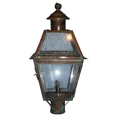 Large Vintage Copper Gas Lantern, Post Mounted