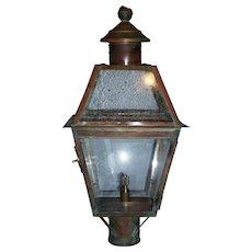 Large Vintage Copper Gas Lantern, Post Mounted