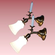 Pair of Gas and Electric Wall Sconces