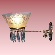 Straight Arm Gas Sconce with Period Shade & Prisms