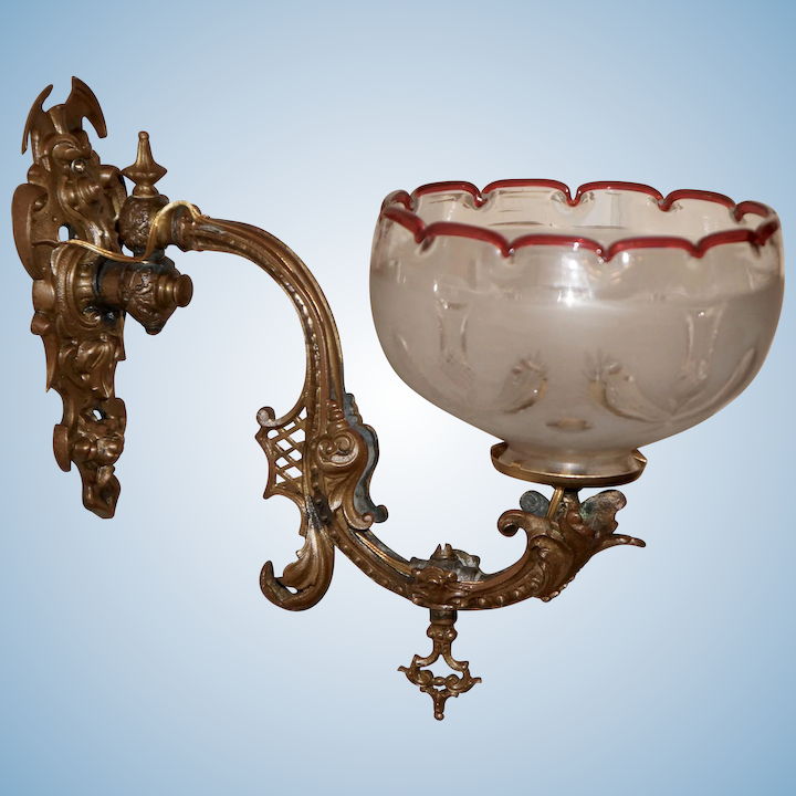 Rococo Gas Sconce With Boston Sandwich Shade