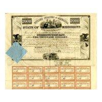 1838 $2000 State of Mississippi Bond