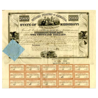 1838 $2000 State of Mississippi Bond