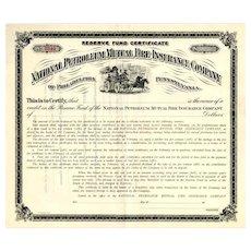 19__ National Petroleum Mutual Fire Insurance Bond Certificate