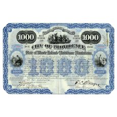 1900 City of Providence Bond Certificate