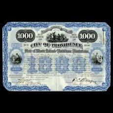 1900 City of Providence Bond Certificate