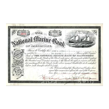 1920 National Marine Bank of Baltimore Stock Certificate