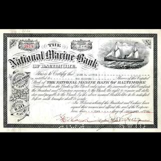 1920 National Marine Bank of Baltimore Stock Certificate