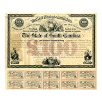1871 State of South Carolina £100 Bond Certificate