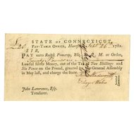 1781 Connecticut Promissory Note signed by Ralph Pomeroy