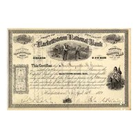 1880s Hackettstown National Bank, New Jersey Stock Certificate