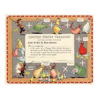 1949 U.S. Treasury Promotional Scripophily Certificate with Al Capp Cartoon Characters
