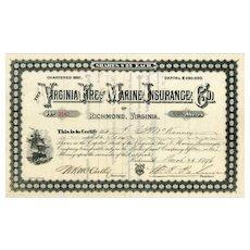 1896 Virginia Fire & Marine Insurance Stock Certificate