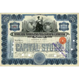1913 Marconi Wireless Telegraph Co Stock