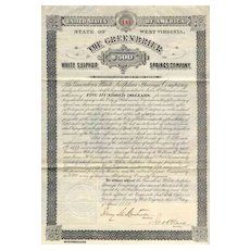 1882 Greenbrier White Sulphur Springs Co Bond Certificate