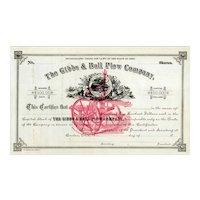 18__ Gibbs & Ball Plow Co Stock Certificate