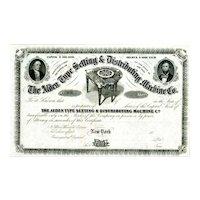 18__ Alden Type Setting & Distributing Machine Co Stock Certificate