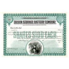 19__ Edison Storage Battery Co Stock Certificate