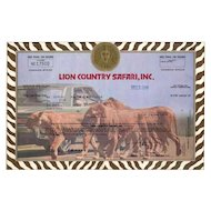 1980 Lion Country Safari Stock Certificate