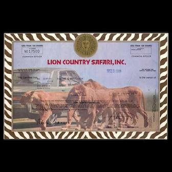 1980 Lion Country Safari Stock Certificate