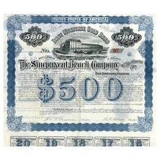 1892 Sinepuxent Beach Co of Baltimore City Bond