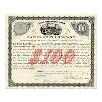 1879 Havre Iron Company Bond Certificate