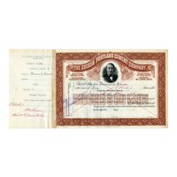 1899  Edison Portland Cement Co Stock Certificate issued to Thomas Edison but voided
