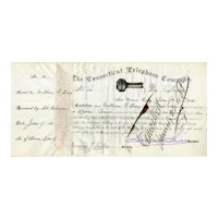 1881 Connecticut Telephone Stock (predecessor to ATT) signed by Marshall Jewell