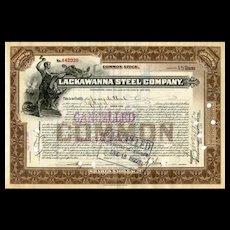 1922 Lackawanna Steel Stock Certificate