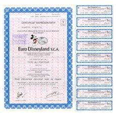 1983 Euro Disneyland Bond Certificate