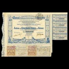 1880 Canal Interoceanique de Panama Bond Certificate