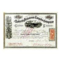 1865 Roberts Petroleum Torpedo Co Stock Certificate