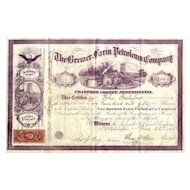 1865 Brewer Farm Petroleum Co Stock Certificate